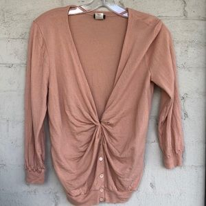 J. Crew knotted  front V neck cardigan sweater